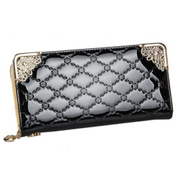Wholesale Blue Patent Leather Clutch - 2016 Luxury Vintage Brand Women Long Patent Leather Plaid Wallet Female Clutch Ladies Phone Purse Coin Credit Card Holder Cuzdan