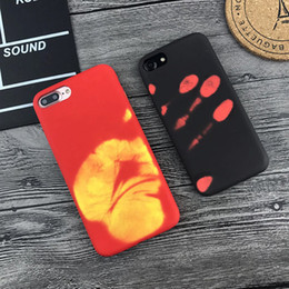 Wholesale Backing Sensors - Thermosensitive Color Change Temperature Sensing Heat Thermal Sensor Magical PU Fingerprint Shell Back Cover Case For iPhone X 6 6s 7 8 plus