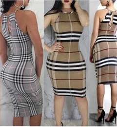 Wholesale Off Shoulder Pencil Dress - Women Sexy Club Dresses Night Club Party Dress Fashion plaid printing Bodycon Bandage Dress Ladies off shoulder Package hip skirt