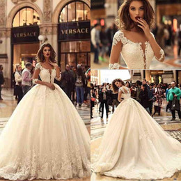 Wholesale Designer Crystal Wedding Gowns Sweetheart - 2018 Designer New 1 2 Long Sleeves Tulle Ball Gown Wedding Dresses Tulle Lace Applique Sweep Train Bridal Wedding Gowns