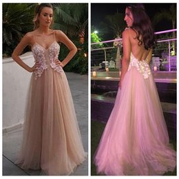 Wholesale Pretty Pictures Flowers - Pretty Champagne Prom Dresses Long 2018 Spaghetti Straps 3D Flower Appliques Beaded A Line Tulle Sexy Backless Evening Party Gowns