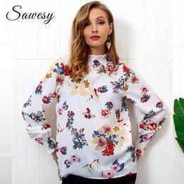 Woman Printing Chiffon Blouse Autumn 2018 New Arrival Fashion Lantern Long Sleeve  Blouse Casual Stand Collar Tops Womens Shirt 5a428d98f