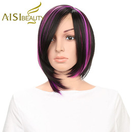 Wholesale Cheap Bob Style Wigs - Aisi Beauty Short Straight Bob Style Wigs Black Mixed Purple Color Wigs Cheap Price Synthetic Bob Wig