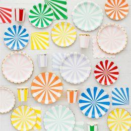 с днем рождения кубок Скидка С Днем Рождения украшения посуда одноразовые полосы золотой фольги бумажная тарелка чашки ткани салфетки душа ребенка пользу вечеринок 26 5yz bb