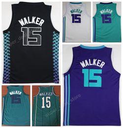 Wholesale Uniform City - Newest 2018 Men 15 Kemba Walker Jersey Buzz City Edition Black Purple Green White Walker Basketball Uniforms College Breathable Top Quality