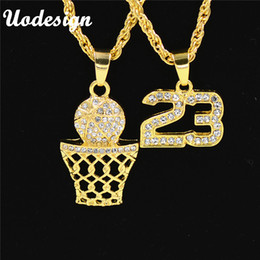 Wholesale Bling Numbers - Uodesign Golden Bling Number 23 and Basketball Hoop Rhinestone Necklaces Men Women Hip Hop Charm Pendants Rock Jewelry Gift