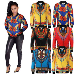 Wholesale Ladies Green Coats - L-5XL Plus Size Women Casual Fashion Long Sleeved Autumn African Traditional Print Jacket Ladies Fall Ankara Bomber Dashiki Coat Outwear