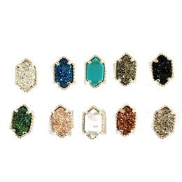 Wholesale black stone jewellery - Fashion Earrings for Women Hexagonal Prism Natural Stone Stud Ear Rings Silver Plated Copper Earrings Fashion Jewellery