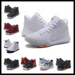 Wholesale Light Top For Kids - New Kyrie 3 Iridescent Pure Platinum kids men women for sale Kyrie Irving Top Quality Basketball shoes us5-us12