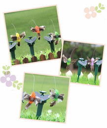Wholesale butterfly garden toy - Solar energy hummingbirds Solar powered fly simulation Birds garden toys students enlightenment educational toys solar and battery combo