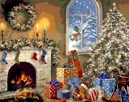 Wholesale Paintings Houses - Diy diamond painting cross stitch kit rhinestone full round diamond embroidery landscape Christmas House home mosaic decoration yx4135