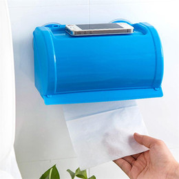 Wholesale waterproof paper holder - Sucker Bathroom Roll Paper Box with Cell Phone Holder removable wall mountes Waterproof Toilet Paper roll Case Rack flat surface