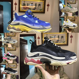 Wholesale Lime Green Boots - Newest Authentic Quality Triple S Sneakers Fashion Old Granpa Boots Trainers Men Women Retro BL Kanye West Tripe-S Running Shoes