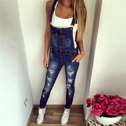 Wholesale Jumpsuits Jeans Denim For Women - Fetoo New Fashion 2017 Casual Boyfriend Ripped Jeans Jumpsuit Romper Women Pants Hole Skinny Sleeveless Denim Overalls for Women