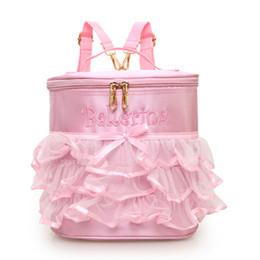 2861d4f3d81 2019 bolsas cintas bordados Bolso rosado del ballet para el niño lindo del  bordado de la