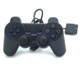 Playstation ps2 spielcontroller online-100X Heißer verkauf Wired Controller Für PS2 Doppel Vibration Joystick Gamepad Game Controller Für Playstation 2 M-JYP