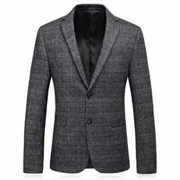 Casaco mens tweed on-line-Mens Tweed Jacket 2017 Luxo Khaki Terno Blazer Masculino de Alta Qualidade Elegante Casaco de Tweed Homens Casuais Casaco Slim Fit Traje M-3XL