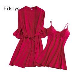 Abito da notte di due pezzi online-Fiklyc marca mezza manica femminile abito abito imposta moda nuovo arrivo imbottito night-dress + accappatoi due pezzi homewear set HOT