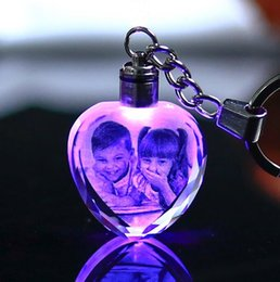 Wholesale Picture Blocks - Heart Shape Crystal Ornaments Changing Colors LED Light Laser Engraved Personalized Picture Gifts For Family Friends Lovers Pets