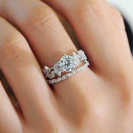 Wholesale unique settings engagement rings - 2pcs set Unique Leaf Design 925 Sterling Silver White Sapphire Diamond Wedding Engagement Ring jewelry set for lady