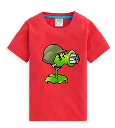Wholesale pink zombie - children summer clothing baby boy Plants Vs Zombies T shirt cotton Paint points short sleeve T-shirt kid boy casual sport T-shirt 2-14Y