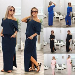 Wholesale casual off one shoulder dresses - Short Sleeve Pocket Dress Sexy One Off Shoulder Long Split Loose Dresses Summer Casual Dresses 10pcs LJJO4592