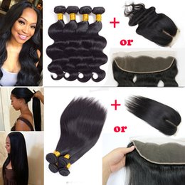 Wholesale 4x4 Lace Frontal - Brazilian Body Wave Human Hair Weave 4 Bundles with 4X4 Lace Closure Peruvian Malaysian Remy Straight Hair Extensions with 13x4 Lace Frontal