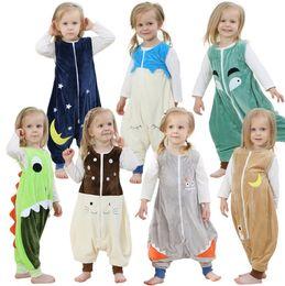 kinder flanell pyjamas Rabatt Neue baby Mädchen tierspielanzug Flanell kinder Overalls pyjamas kinder Klettern kleidung Herbst Frühling Sleeveless pyjamas für kinder 1-6 T