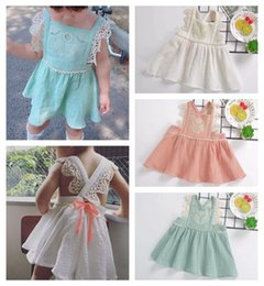 Wholesale Boutique Clothes For Girls Wholesale - 2018 summer girls boutique clothing baby girl dresses backless princess dresses for kids lace dress childrens halter tops INS cotton clothes