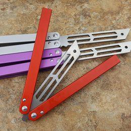 Coronas de mariposa online-Theone Triton Trainer Butterfly knife Un canal Aluminio Hanldle crown Spine y borde Sistema de buje