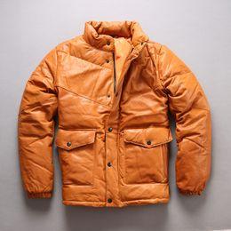 AVIREXFLY Piumino in vera pelle di montone bordato di colore giallo supplier yellow genuine leather jacket da giacca in vera pelle gialla fornitori