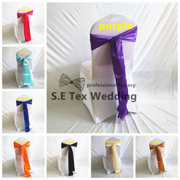 Wholesale Cheap Satin Fabric Wholesale - Cheap Price Satin Chair Sash \ Chair Tie Bow For Lycra Spandex Chair Cover Decoration