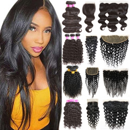 Wholesale Virgin Malaysian Hair Extensions - Brazilian Body Wave Virgin Remy Human Hair Extensions 3 Bundles with 4x4 Lace Closure and 13x4 Lace Frontal Weaves Closure Kinky Curly Weave