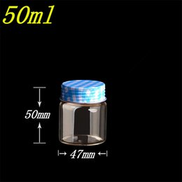 Wholesale Small Spice Jars Wholesale - 10 pcs 47x50 mm Small Glass Bottles With Blue Metal Screw Cap DIY 50ml Empty Glass Jars Wishing Bottles Gifts Vials Containers