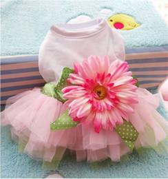 Fiber flower online-Sun Flower Lovely Skirt Fashion Dog Dress Piccoli animali Forniture Accessori Abbigliamento squisito creativo Abbigliamento Cartoon 6 2gg jj