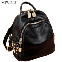 Wholesale Name Brand Backpack - Free Shipping MIWIND Women Cow Leather Backpacks Softback Bags Brand Name Bag Casual Fashion Backpacks Girls Backpack WUB062