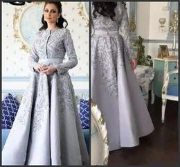 2019 vestidos longos prateados 2019 prata cinza mangas compridas vestidos de noite grande beading árabe jóia do pescoço até o chão longo celebridade formal vestidos de festa de formatura desgaste vestidos longos prateados barato