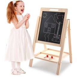 Wholesale Wooden Easels - Kids 2 In 1 Deluxe Standing Wooden Easel Black White Drawing Board Children Educational Toys