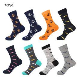 VPM Combed Cotton Men's Socks Moustache Naval Anchor Long Cool Skate Sock for Men Wedding Party Gift от
