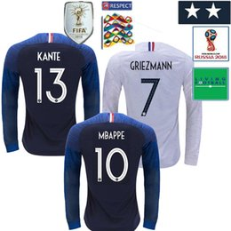 5a9d84fd9 2019 Frances UEFA Nations League French 2 Stars Griezmann 7 Mbappé Long  Sleeve 2018 Frances home 6 Pogba Soccer Jersey Football Shirt