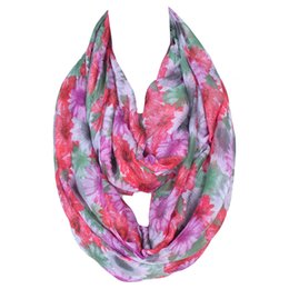 Wholesale Lightweight Fashion Scarves - New Fashion Flowers Printing Lightweight Polyester Women Infinity Scarf