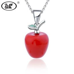 Красное яблоко подвеска ожерелье онлайн-WK Adam's Even's Garden Of Eden Fruit Red Apple Pendant Necklace 925 Sterling Silver Fine Jewelry Gift For Girls Women W2 NZ073