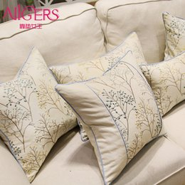 Wholesale Embroidery Linen Cushion Cover - Avigers Luxury Pastoral Cushion Cover Embroidery Pillow Case Cotton Linen Home Christmas Tree Decorative Gift Throw Pillow Cover