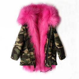 Wholesale winter fur coats for girls - Girls Winter Coat Faux Fox Fur Liner Detachable Jackets Children Outerwear Baby Thicken Warm Coat Parkas For kids C3276