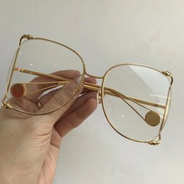 Wholesale Red Eye Lenses - Luxury 0252 Sunglasses Women Brand Designer Popular Fashion Big Hollow Frame Summer Style Top Quality UV Protection Lens Come With Case