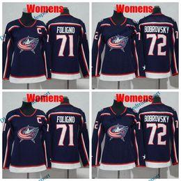 2019 senhoras jaqueta jaqueta 2018 mulheres Columbus Blue Jackets 71 Nick Foligno Hockey Jerseys Senhoras Meninas Nick Foligno costurado Jersey senhoras jaqueta jaqueta barato