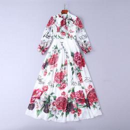 Vestido de flores de outono on-line-Mifairy runway vestidos 2018 outono flores imprimir bowknot mangas compridas de alta qualidade das mulheres dress vestidos de festa dh082104