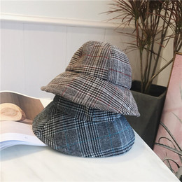 Wholesale Winter Bucket Hats For Men - Winter Warm Foldable Houndstooth Bucket Hat for Women Wide Brim Plaid Fisherman Hats Floppy Sun Protection Solid Caps