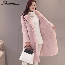 Wholesale Gray Suede Jacket - Hirsionsan Winter Jacket Women 2017 Lambswool Coats Warm Thick Turn-down Collar Overcoats Elegant Suede Leather Long Coat