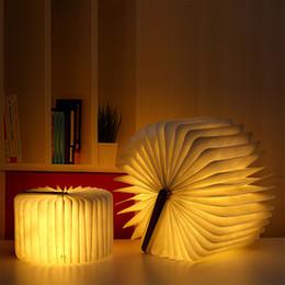Lampe de lecture rechargeable usb en Ligne-Portable Lampe de lecture pliable en forme de livre en bois Lampe de bureau créative USB pour décor à la maison Veilleuse Chaud Blanc Rechargeable
